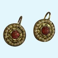 Vintage Screw Back Earrings Red Rhinestone Repoussé
