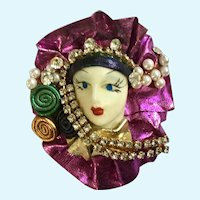 Eccentric lady Brooch Pin Hand Crafted