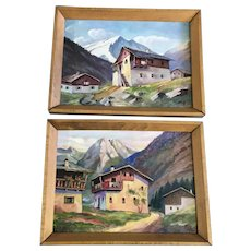 Homes in the German Alps Oil Paintings