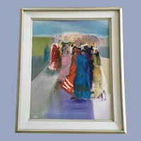 Cote, Figural People Oil Painting Signed by Artist