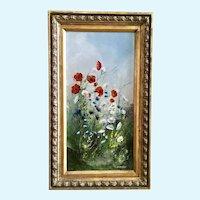 Joseph Boon, Poppy Wildflower Bouquet Landscape Acrylic Painting