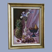 L Mastropasqua, Gorgeous Fruit and Floral Still Life Oil Painting