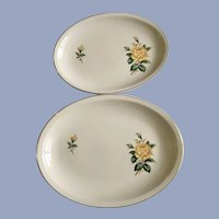Golden Scepter Yellow Rose Paden City Pottery Serving Plate Platters