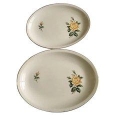 Golden Scepter Yellow Rose Paden City Pottery Serving Plate Platters