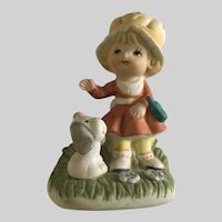 Cute Little Girl With a Puppy Dog Figurine Homco