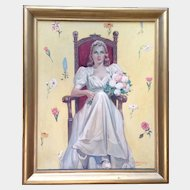 Joe (Joseph) Hennesy - Original (1930's) Blushing Bride Wedding Day Vintage Figural Oil painting on canvas, Illustration Art Signed By Listed Artist