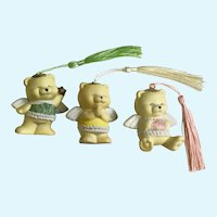 Angel Christmas Bears Ornaments with Pastel Tassels