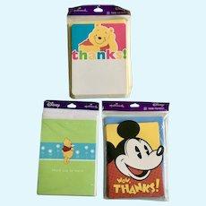 Hallmark Disney Mickey Mouse & Winnie the Pooh Thank You Cards 30