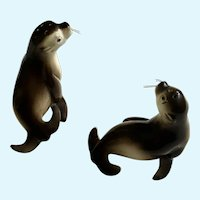 Vintage Seal Salt and Pepper Shakers With Whiskers Japan