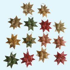 Vintage Christmas German Wax Paper Stars with Mica Glitter Ornaments 14