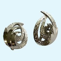 Feathered Swirl Clip On Earrings Silver-Tone Trifari