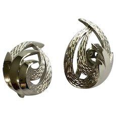 Feathered Swirl Clip On Earrings Silver-Tone Trifari