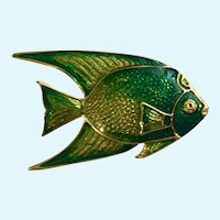 Green and Gold-Tone Tropical Fish Brooch Pin