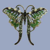 Green Beaded Butterfly Insect Brooch Pin