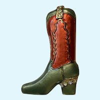 Western Boot with Rhinestones Brooch Pin