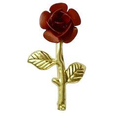 Vintage Red Rose Brooch Pin