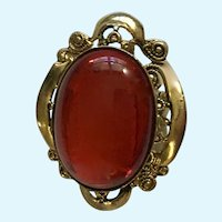 Elegant Red and Gold-Tone Brooch Pin