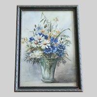 Sr M Maxine, Floral Bouquet Still Life Watercolor Painting 1938