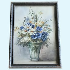 Sr M Maxine, Floral Bouquet Still Life Watercolor Painting 1938