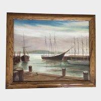 Don King, Dockside Harbor Seascape Oil Painting New York Artist