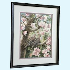 Norma Lane, Morning Dove In Pink Flowering Magnolia Tree Watercolor Painting