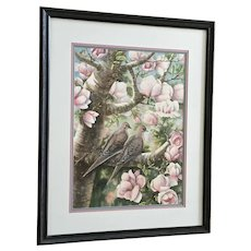 Norma Lane, Mourning Dove In Pink Flowering Magnolia Tree Watercolor Painting