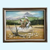 Native American Indian Warriors on Horse Back Fighting, Oil Painting