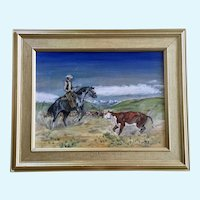 Dave Jones, Western Cowboys Driving Cattle, Oil Painting