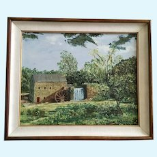 Margaret Frances Robinson, Old Waterwheel Gristmill Mill Building Landscape Oil Painting