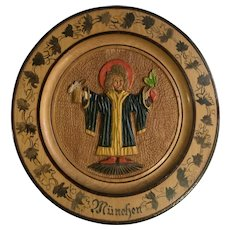 München, Germany Vintage Folk Art Wood Carved Beer Souvenir Plate