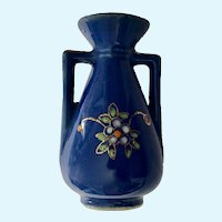 Occupied Japan Blue Floral Vase Pico Dollhouse Miniature