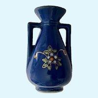 Dollhouse Miniature Blue Floral Vase Pico Occupied Japan