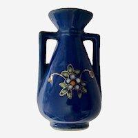 Occupied Japan Blue Floral Vase Pico Dollhouse Miniature