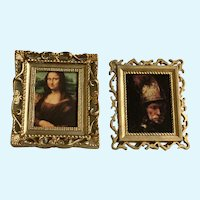 Dollhouse Miniature Rembrandt & Silk Canvas Mona Lisa Pictures Hong Kong