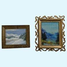 Vintage Dollhouse Miniature Original Landscape Oil Paintings