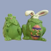 Silly Bunny Frog Easter Salt & Pepper Shakers Ceramic Figurines