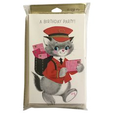 Mid-Century Kitty Cat Birthday Party Invitations By Laurel Greeting Cards