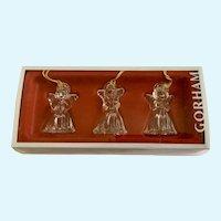 Three Gorham Crystal Glass Angel Christmas Ornaments