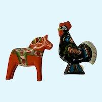 Vintage Nils Olsson Black Rooster & Orange Dala Horse Swede Folk Art