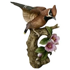 Lefton Waxwing Bisque Bird Figurine KW 7020