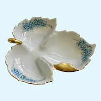 Mid-Century Leaf Forget Me Not Flower Hand Painted Signed Dish