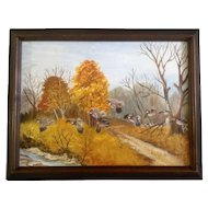 Jana Nannis, Flight of Quail in the Fall, Acrylic Painting on Artist Board Signed by Artist