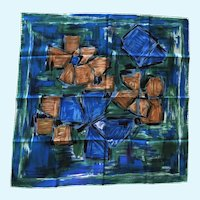 Pure Silk Scarf Blue Green Made in Italy