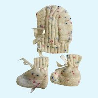 Vintage Baby Winter Bonnet and Matching Knitted Booties