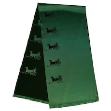 Vintage Hermes Men's Neck Scarf Green Silk with Horse Carriage