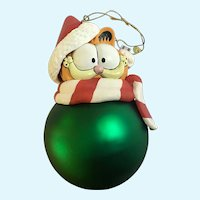 Christmas Garfield Cat Possible Dreams Glass Large Ornament