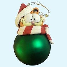Vintage Christmas Garfield Cat Possible Dreams Glass Large Ornament 1997 NIB