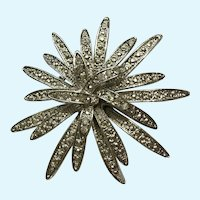 Silver-Tone Starburst Flower Brooch Pin