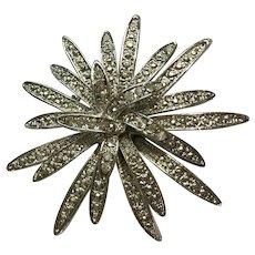 Silver-Tone Starburst Flower Brooch Pin