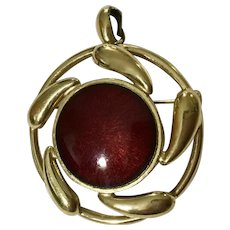 Red and Gold-Tone Brooch Pin Pendant